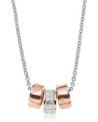 Emporio Armani - Heritage Stealing Silver Pvd Rose Goldtone Charms Necklace - Lyst