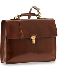 The Bridge Story Uomo Genuine Leather Flap Top Briefcase - Brown