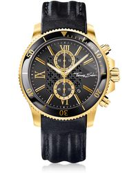 Thomas Sabo Rebel Race Gold Stainless Steel Men's Chronograph Watch w/Black Leather Strap - Negro