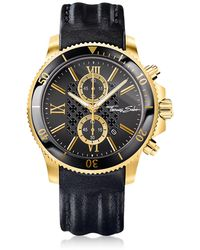 Thomas Sabo - Rebel Race Gold Stainless Steel Men's Chronograph Watch W/black Leather Strap - Lyst