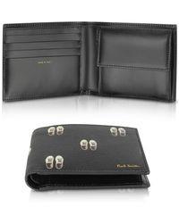 Paul Smith Black Leather Basso Print Men's Billfold Wallet - Schwarz