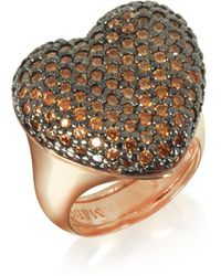 Azhar Rose Sterling Silver You/me Ring W/champagne Cubic Zirconia