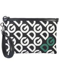 Dolce & Gabbana Black And White Allover Signature Clutch With Logo