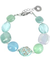Antica Murrina - Florinda Top T Light Blue And Green Murano Glass Beads Bracelet - Lyst