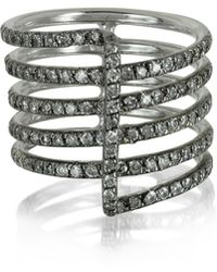 Bernard Delettrez - Four Bands 9k White Gold Ring W/grey Diamonds Pave - Lyst