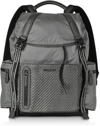 Ermenegildo Zegna - Gray Nylon And Leather Backpack - Lyst