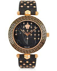 Versace Vanitas Reloj de Mujer de Acero Inoxidable Bicolor con Correa de Cuero Negro