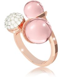 Rebecca - Boulevard Stone Rose Gold Over Bronze Ring W/ Hydrothermal Pink Stones And Cubic Zirconia - Lyst