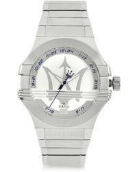Maserati Potenza 3H Armbanduhr aus Edelstahl in Silber - Mettallic