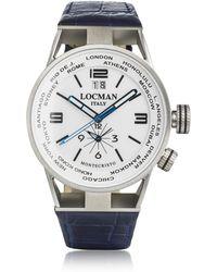 LOCMAN - Montecristo Blue Stainless Steel & Titanium Dual Time Men's Watch W/leather Strap - Lyst