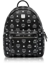 MCM | Small Black And White Logo Visetos Stark Backpack | Lyst