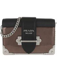 3fda1ead4255 Prada - Cahier Shoulder Bag Metallic Leather Cammeo/nero - Lyst