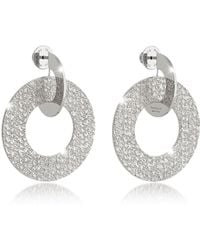 Rebecca R-Zero Rhodium Over Bronze Drop Hoop Earrings - Mettallic