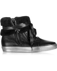 Loriblu - Cuffed Black Leather Trainer - Lyst