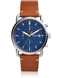 Fossil - The Commuter Chronograph Light Brown Leather Men's Watch - Lyst
