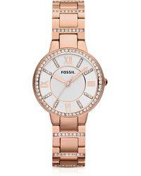 Fossil Virginia Three Hand Rose Golden Stainless Steel Women's Watch - Pink