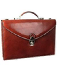 L.A.P.A. Classic Cognac Leather Briefcase - Red