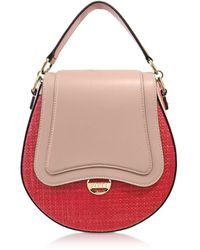 Emilio Pucci Leather and Natural Fiber Top Handle Bag w/Shoulder Strap - Rojo