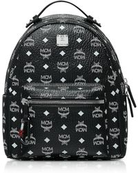 MCM - Black Stark Backpack W/white Logo Visetos 32 - Lyst
