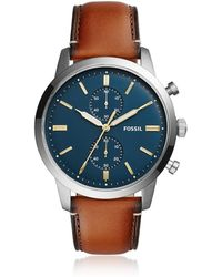 Fossil - Townsman 44mm Chronograph Luggage Leather Men's Watch - Lyst