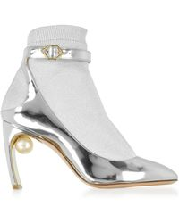 Nicholas Kirkwood - Silver Laminated Leather And Fabric Lola Pearl Sock Pumps - Lyst