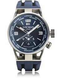 LOCMAN Montecristo Blue Stainless Steela & Titanium Dual Time Men's Watch - Blau