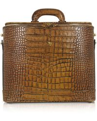 Pratesi Croco Stamped Leather Laptop Business Bag W/courtesy Light - Brown