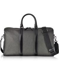 Ermenegildo Zegna Slate Coated Canvas And Leather Men's Weekender Bag - Gray