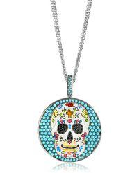 Azhar Calavera Skull Charm Rhodium Plated Sterling Silver Pendant Necklace - Metallic