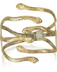Bernard Delettrez Six Snake Bronze Cuff Bracelet - Mettallic