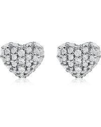Michael Kors Heart Rhodium Plated Sterling Silver Pavé Studs - Metallic
