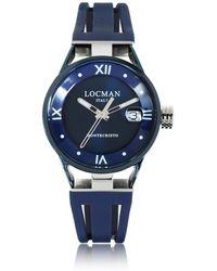 LOCMAN Montecristo Stainless Steel and Titanium Women's Watch w/Silicone Strap - Blau
