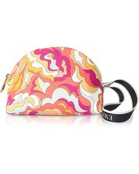 Emilio Pucci - Coral And Sand Coated Canvas Cosmetic Case/pouch - Lyst