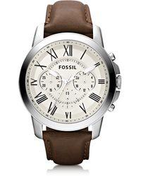 Fossil Grant Reloj Cronógrafo para Hombre de Acero Inoxidable y Correa de Cuero - Metálico