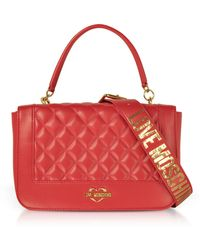 Love Moschino Quilted Eco Leather Top Handle Bag - Red