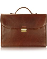 Chiarugi - Men's Handmade Brown Leather Single Gusset Briefcase - Lyst
