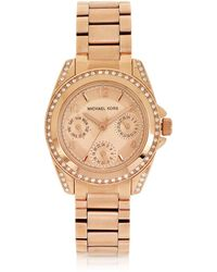 Michael Kors - Rose Golden Mini-size Blair Multi-function Glitz Watch - Lyst
