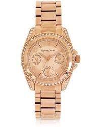 0261397faca6 Michael Kors - Rose Golden Mini-size Blair Multi-function Glitz Watch - Lyst