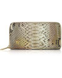 Ghibli Python Leather Zip Around Continental Wallet - Neutro
