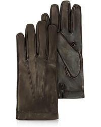 Moreschi - Siberia Dark Brown Leather Men's Gloves W/cashmere Lining - Lyst