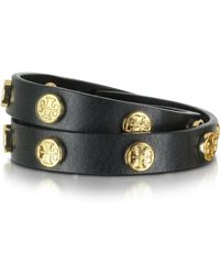 Tory Burch Double Wrap Stud Logo Bracelet - Black