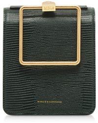 Marge Sherwood Lizard Embossed Leather Pump Handle Satchel bag - Verde