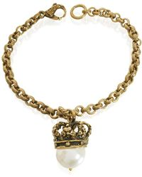 Alcozer & J - Crown And Pearl Bracelet - Lyst
