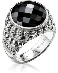 Thomas Sabo Rebel Skulls Sterling Silver Ring w/Onyx - Mettallic
