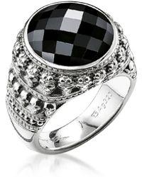 Thomas Sabo - Rebel Skulls Sterling Silver Ring w/Onyx - Lyst