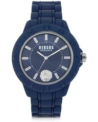 Versus Tokyo Silicon And Silver Tone Stainless Steel Unisex Watch - Blue