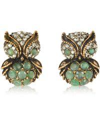 Alcozer & J - Green Owl Earrings W/stones - Lyst