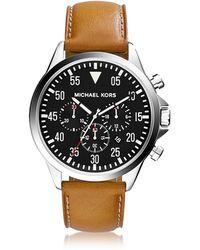 Michael Kors Reloj para Hombres Gage Caja de Acero Inoxidable Plata y Correa de Cuero - Metálico