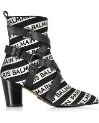 Balmain Jilly Stripe Logo Ankle Boots - Black