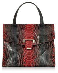 Ghibli Python Leather Top Handle Satchel Bag - Red